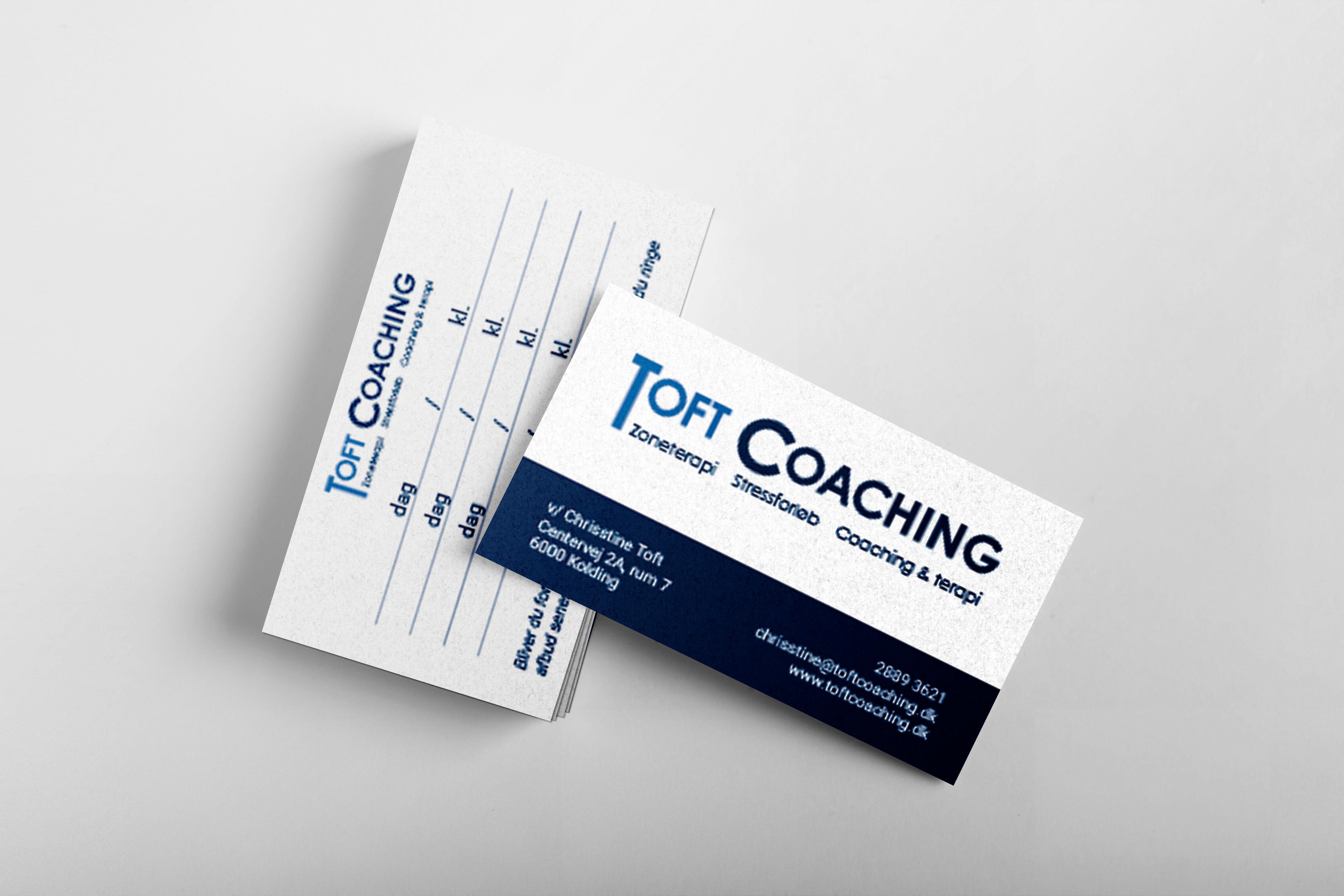 Design af visitkort og mødekort til Toft Coaching